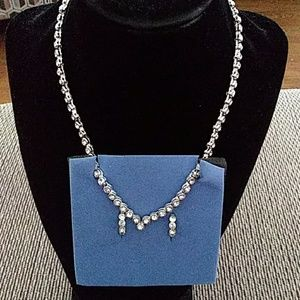 Avon sparkling Crystal V shape necklace and hoop e